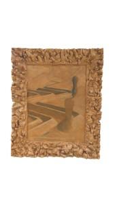 72.5 x 88 8.5 cm Emprunte au plâtre sur argile frais avec gouache